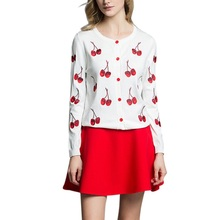 Autumn Women Kintted Sweaters Fashion Cherry Embroidery Pattern Women Female Slim Open Stich Cardigan Sweater(China)