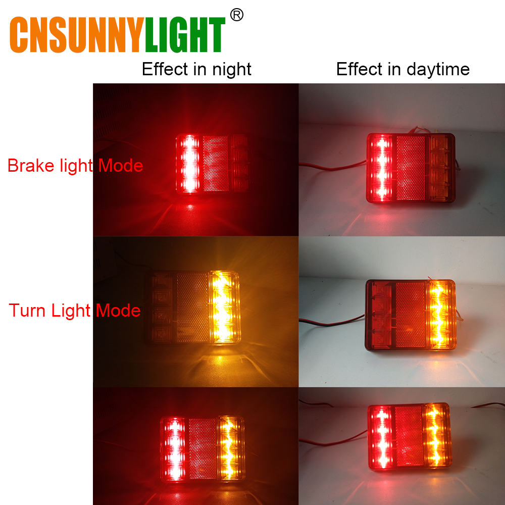 CNSUNNYLIGHT Car Truck Rear Tail Light Warning Lights Rear Lamps Waterproof Tailight Rear Parts for Trailer Caravans DC 12V 24V (7)