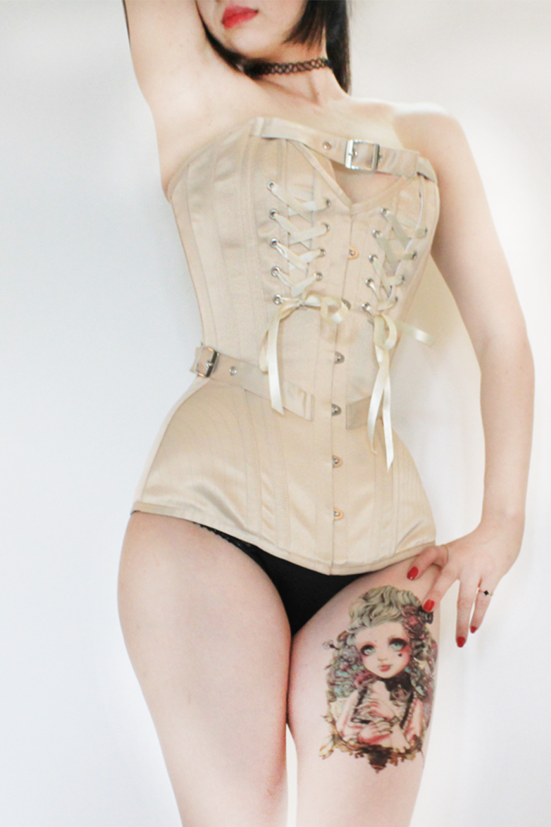 Annzley Corset Victorian Vintage Corset Top With Front Lace And Belt (5)