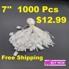 "1000 Pieces/Lot 7"" White Hang Tag Nylon String Snap Lock Pin Loop Fastener Hook Ties Free Shipping"
