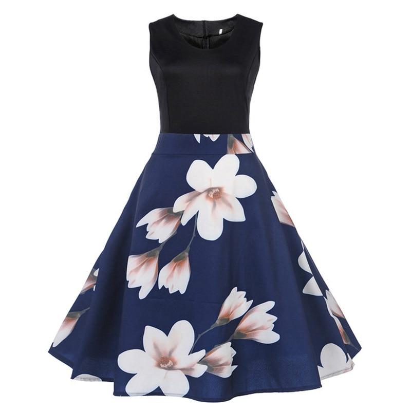 a74881ed25 N.XINZHE Floral Print Summer Dress Women 2018 Sleeveless Tunic 50s Vintage  Dress Elegant slim Party Dresses vestido de fiesta