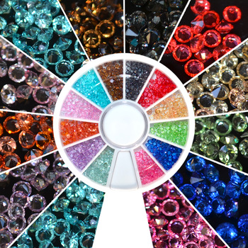 YZWLE 1 wheel 1.5mm Zircon Nail Rhinestones Nail Art Micro Rhinestones Mini Nail Rhinestones Manicure Decorations