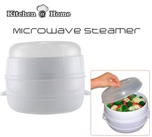1 PCS 2 Tier Microwave Food Steamer BPA Free Cookware Steam Cooking Pot Veggies Fish Seafood Steamer As Seen On TV K112(China)