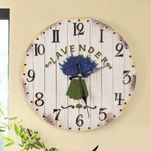 040703 wall clock safe modern design digital vintage large led kitchen decorative mirror Romantic lavender mute(China)
