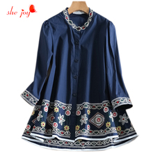 Fashion Women Cotton Embroidery Blouse Glorious Quality Stand Collor Long Shirt Female A Line Clothings 2017 New
