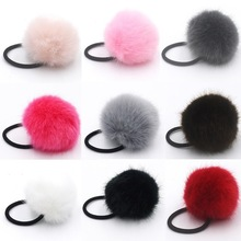 50pcs lady girl Faux Fur Fluffy Ball Pom Pom Scrunchies pompon Elastic Ponytail Holder hair rope hair ties accessories GR102