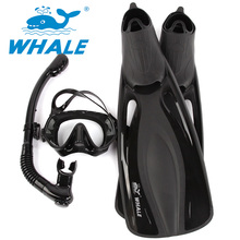 Whale Diving Sports long Diving Flipper Equipment Diving Mask snorkel fins set high quality With 4 colors FN600+MK1000+SK100