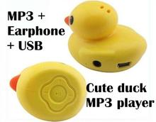 Cute duck MP3 music Player support Micro SD(TF) card slot mp3 with earphone and usb cord