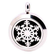 316L Stainless Steel Christmas Snowflake Necklace Pendant Aroma Essential Oil Diffuser Lockets Include 10pcs Felt Pad as Gift(China)
