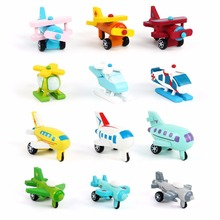 12 PCS/ Set Export Children Diecasts Wooden Airplane Toys 5CM Cartoon Minicar Model Vehicle Wood Mini plane Baby Toys Kids Gift(China)