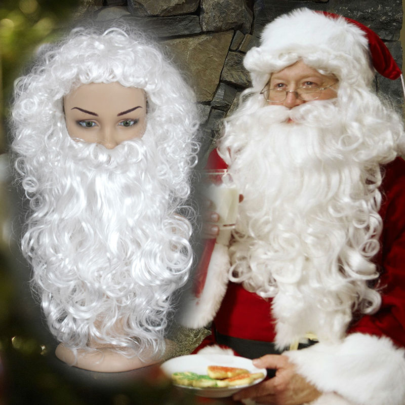 Full Lace Synthetic Cosplay Wigs 30cm White Curly Hair +35cm Long Beard Father Christmas Heat Resistant False Hair For Party<br><br>Aliexpress