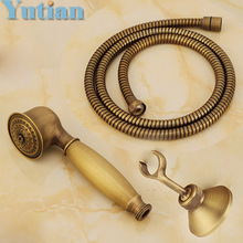 Antique Brass Hand shower sets solid brass hand shower +1.5M shower hose pipe(China)