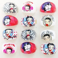 Wholesale Lots 50pcs Lovely Cartoon Betty Boop kids Pretty Ring Party Supplies Gift Acrylic Ring Girl Jewelry(China)