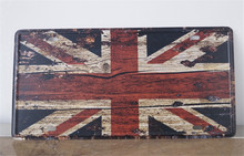 "Retro license plate""Union jack""iron Plaque Bar/Cafe/Club/Gallery Wall sticker Decorative painting decorations 15x30cm"