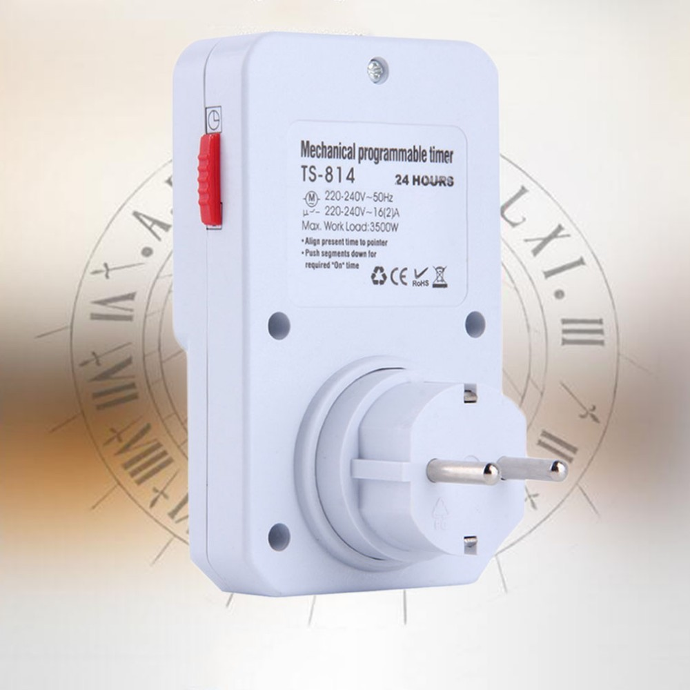 2x 24 Hour Mechanical Grounded Timer Dual AC Outlet Plug-in ON//OFF Socket Switch