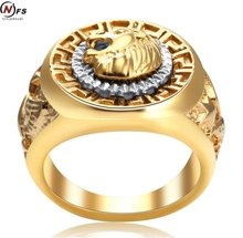 NFS Men's 19mm Width Band Ring Cool  Eagle Star 18KGP Jewelry Size 7-14 Vintage Male  Head Punk And Eagle Ring