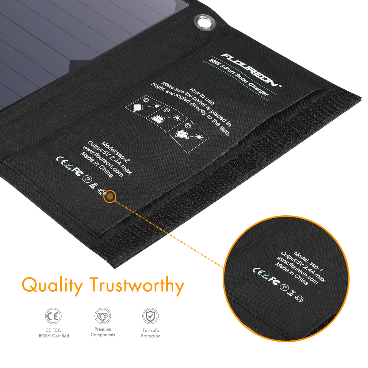 FLOUREON 28W Foldable Waterproof Solar Panel Charger Mobile Power Bank for Smartphones Tablets Triple USB Ports Outdoor 14
