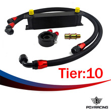 PQY RACING- UNIVERSAL 10 ROWS OIL COOLER+OIL FILTER SANDWICH ADAPTER BLACK + SS NYLON STAINLESS STEEL BRAIDED AN10 HOSE