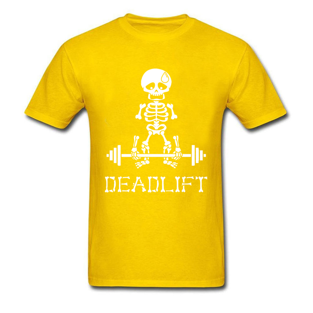 Deadlift-Skeleton-white T Shirt for Men Print Summer/Autumn Tops & Tees Short Sleeve Company Top T-shirts O Neck 100% Cotton Deadlift-Skeleton-white yellow