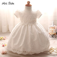 Aini Babe Fancy Baby Girl Dress Tutu Lace Princess Girls Clothes White Toddler Girl Christening Gown Baby Dresses For Baptism