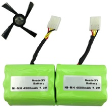 2 pcs 7.2v 4500mAh battery pack +sidebrush for Neato XV-21 XV-11 XV-14 XV-15 robot vacuum cleaner parts neato xv battery(China)
