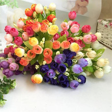 1 bouquet 15 Heads Artificial Rose Plastic Fake Flower Leaf Home Decor Bridal Bouquet Happy Gifts Wedding Decoration bonsai 2017(China)