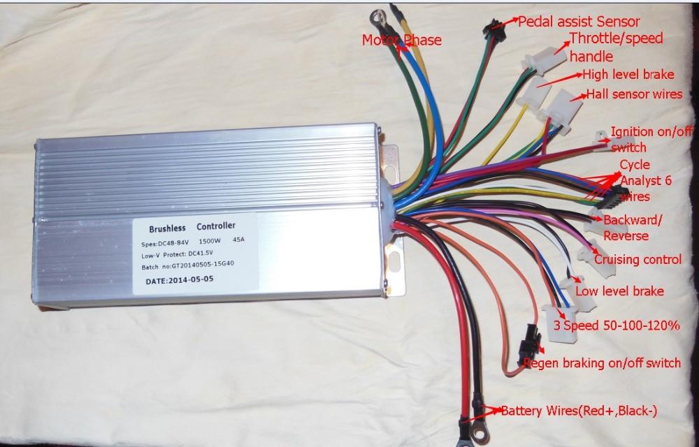 GREENTIME 15 Mosfets 48-84V 1500W 45Amax Dual mode Sensor/Sensorless Brushless DC Motor Controller<br>