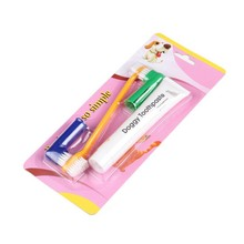 Pet Dog Cat Lovely Toothpaste Pet Toothbrush Back Up Brush Set Color Random Beef Flavor Vanilla Flavor Random Delivery