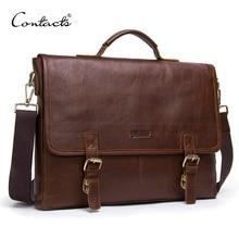 CONTACT'S genuine leather briefcase men shoulder bag 14 inch laptop male messenger bag vintage business cowhide men's bags