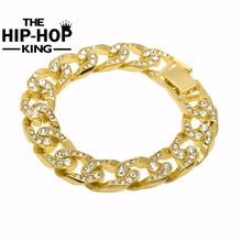 Hip Hop Men Simulated Diamonds Bracelet Cuban links & chains Silver Bracelet for Bangle Male Alloy Gold Color Accessory