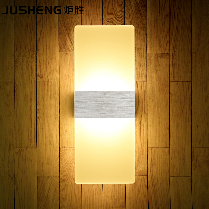 Newly Indoor LED Wall Lights 6W Bathroom Lighting High Quality Aluminum Base Acrylic Square Wall Lamps in Bedroom Living Room