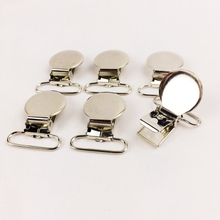PINJEAS 100PCS Pacifier Clips Round Metal Pacifier Holder Clips DIY Crafts Flat Back Baby Pacifier Clip DIY Material(China)