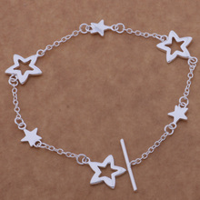 Fashion Silver Jewelry Fine Link Chain Bracelet Heart/Star For Women AB130-131(China)