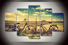 5 Pieces Blue Paddy Bicycle Wall Art Picture Modern Home Decoration Living Room Or Bedroom Canvas Print Painting Wall Picture(China)