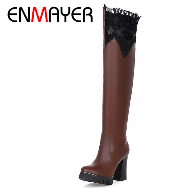 ENMAYERNew Women Thigh High Boots Platform High Heels Sexy Fashion Over The Knee Boots Size 43 Black White Round Toe Women Boots<br>