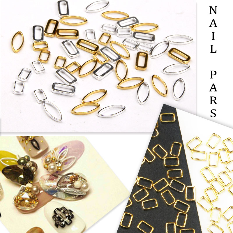 Elessical Gold Silver Color Nail Stud Charm Frame Rivet Nail Art Design Manicure Tool Supplies WY771-WY776(China)