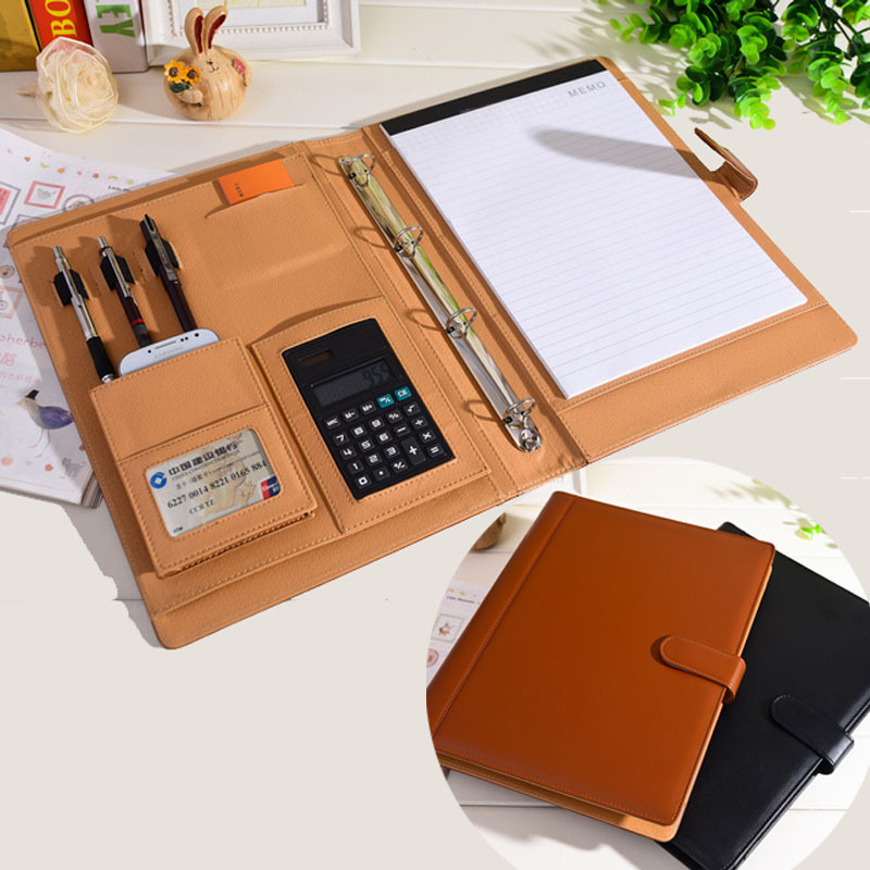 RuiZe leather folder Padfolio multifunction organizer planner notebook ring binder A4 file folder with calculator office supply<br>
