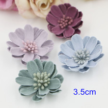 "10 pcs - 3.5cm (1.4"") Leather Flower Daisy,Applique Flowers 3D Small embellishment headband flower,DIY Flower Crafts Supplies"