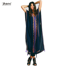 YACKALASI Women Dress Long Bohemian Vintage Ethnic Darkblue Flower Embroidered Cotton Tunic Casual Hippie Boho People - One Size(China)