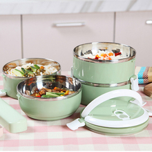 2017 Hot Sale Special Offer New Arrival 3 Colors Two Layer Stainless Steel Thermal Bento Lunch Box For Food Containers