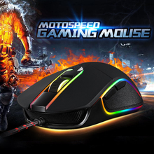 Motospeed V30 Wired Gaming Mouse 6 DPI for Changing Optical Mouse with LED Backlit Display Gamer Mice for Laptop Desktop