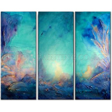 New Arrived High Quality Handmade Bright Colors Abstract Oil Painting for Living Room Modern Abstract Light Blue Oil Painting