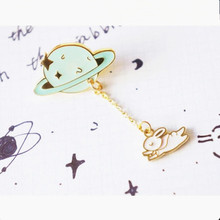 Trendy Planet Astronaut Rabbit Long Chain Brooch Badge Personality Design Fortune Cat Exquisite Brooch Pin Collar Clips Women