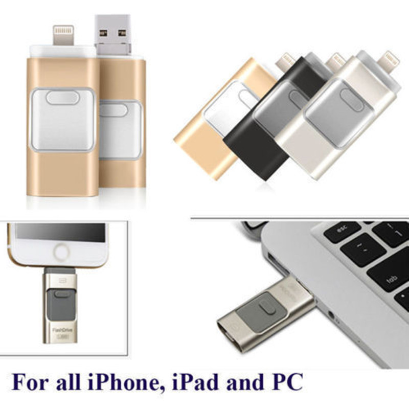 3 in 1 USB 3.0 Flash Drive Memory Stick OTG Pendrive For iPhone PC APPLE 256GB 128GB 64GB 32GB 16GB title=