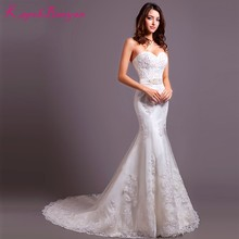 KapokBanyan Real Photo White Lace Sweetheart Mermaid Wedding Dresses 2017 Sweep Train Button Back Bridal Gown Vestido de noiva(China)