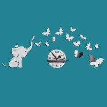 Creative Little Elephant and Butterfly Wall Clock Removable DIY Acrylic 3D Mirror Wall Decal Wall Sticker Decoration
