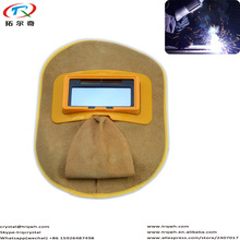 Welding Helmet with Slight Confortable Leather Material Lowest Price Auto Darkening Powered Solar for Tig Mig Argon Arc Welding(China)