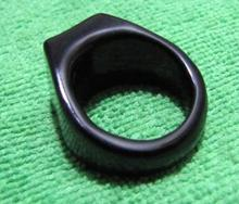 Free shipping Chinese natural Black onyx hand carved ring size10.5#(China)
