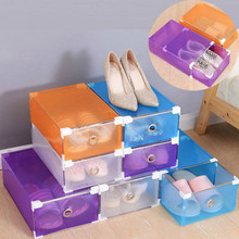 1Pcs Foldable Clear Plastic Shoes Storage Boxes Drawer Case Transparent Stackable Home Shoe Storage Box Organiser Grid Container