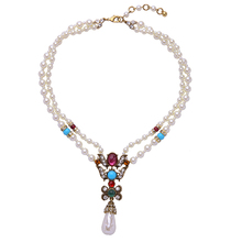 Retro Colorful Crystal Choker Jewelry Necklace Brides Articles Double Simulated Pearl Chain Vintage Necklace Collar